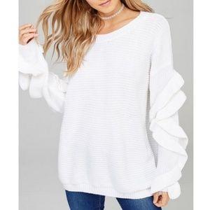 Sweaters - White Oversized Ruffle Sleeves Sweater